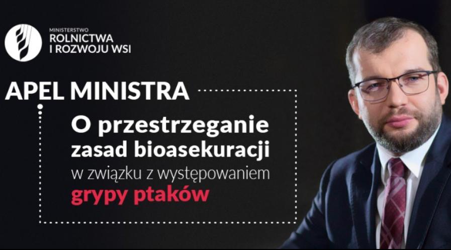 Apel Ministra o przestrzeganie zasad bioasekuracji w związku z grypą ptaków - Krajowy Ośrodek Wsparcia Rolnictwa